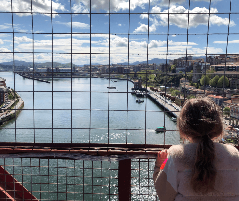 view from the top of the vizcaya bridge in the basque country