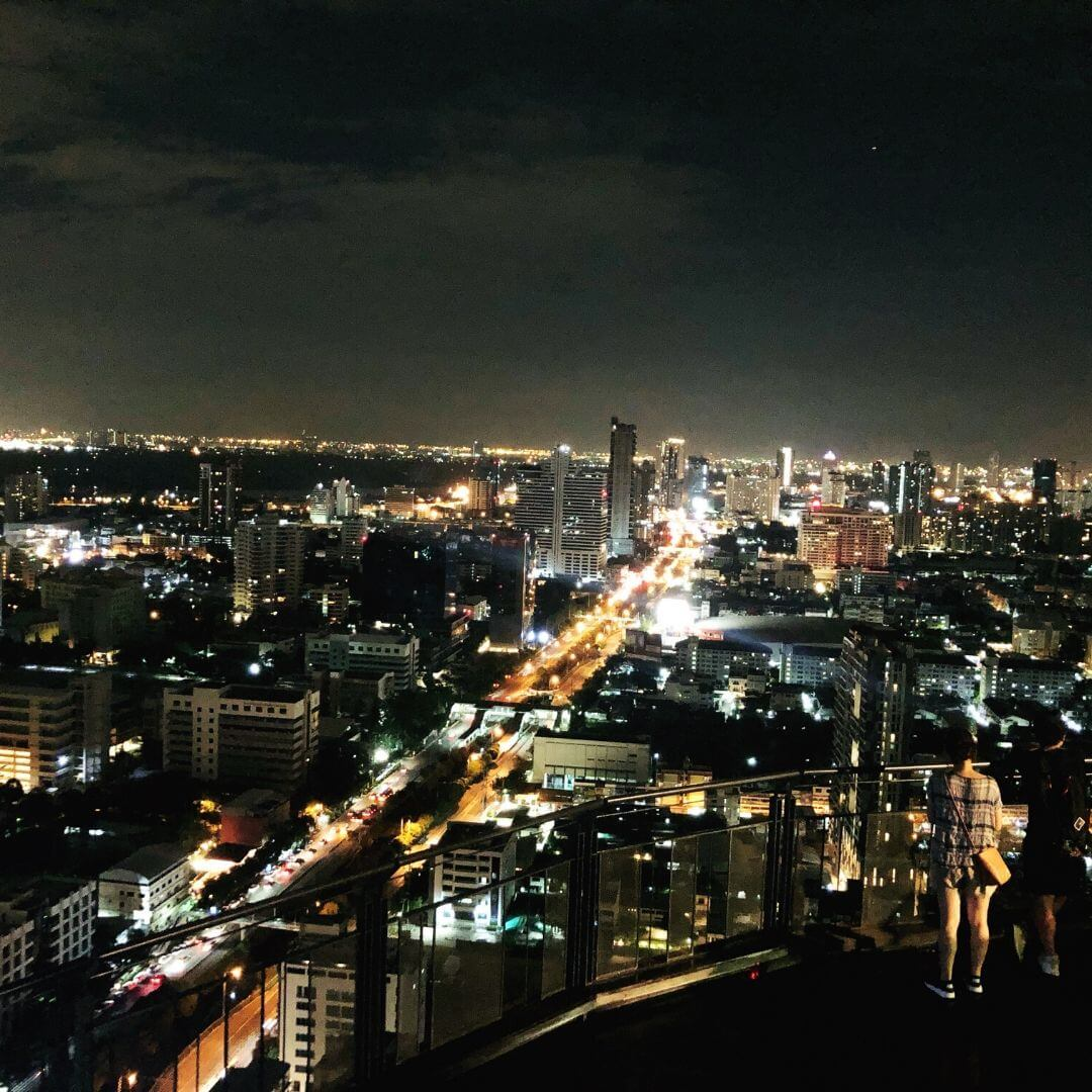 view of bangkok from above at night