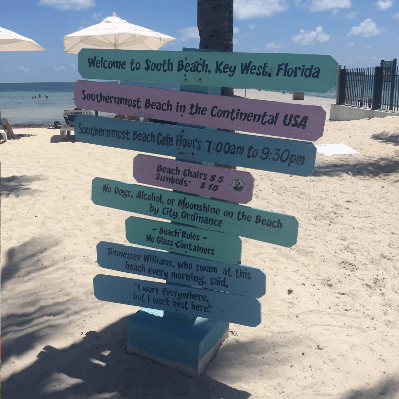 southernmost beach sign in key west