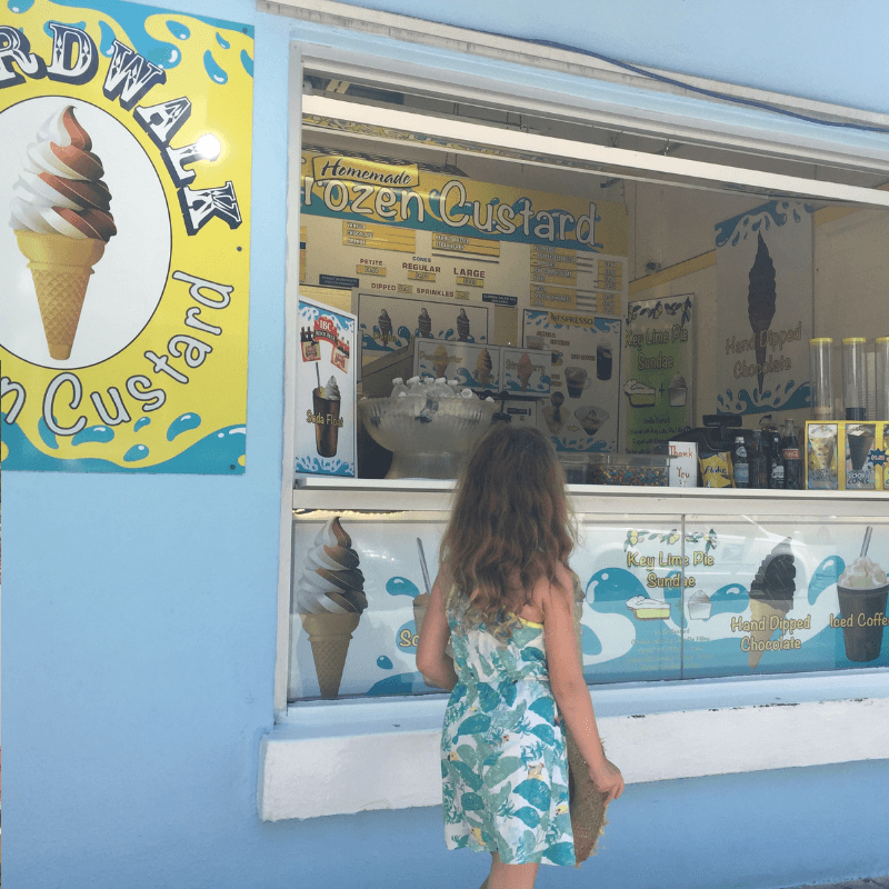 young girl choosing an ice cream on Duval street, Key west