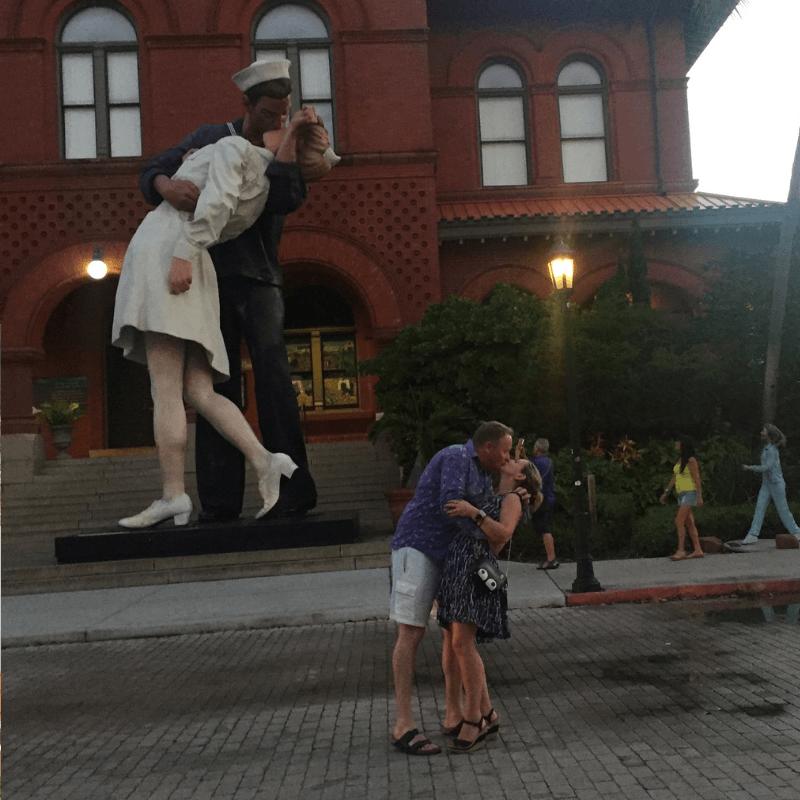 The embrace statue outside the custom house key west