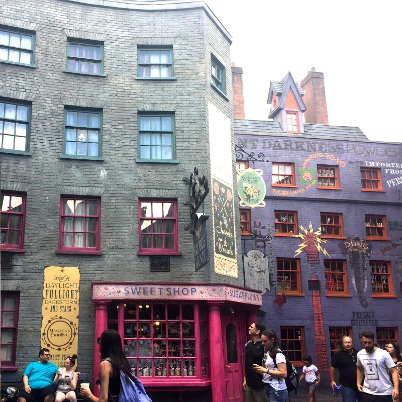 view of some shops at the wizarding world of harry potter in orlando florida