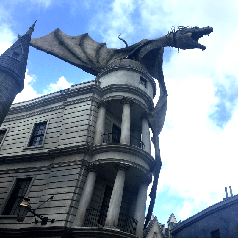 famous dragon on top of Gringotts bank at the wizarding world of harry potter at universal studios orlando