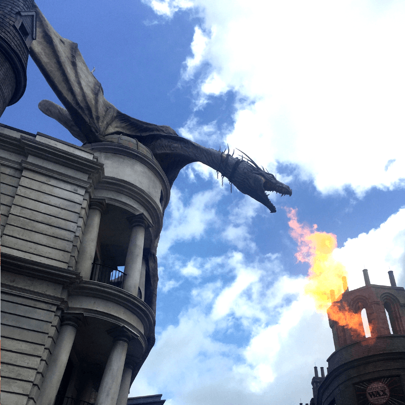 fire breathing dragon on top of gringotts bank at harry potter world, florida