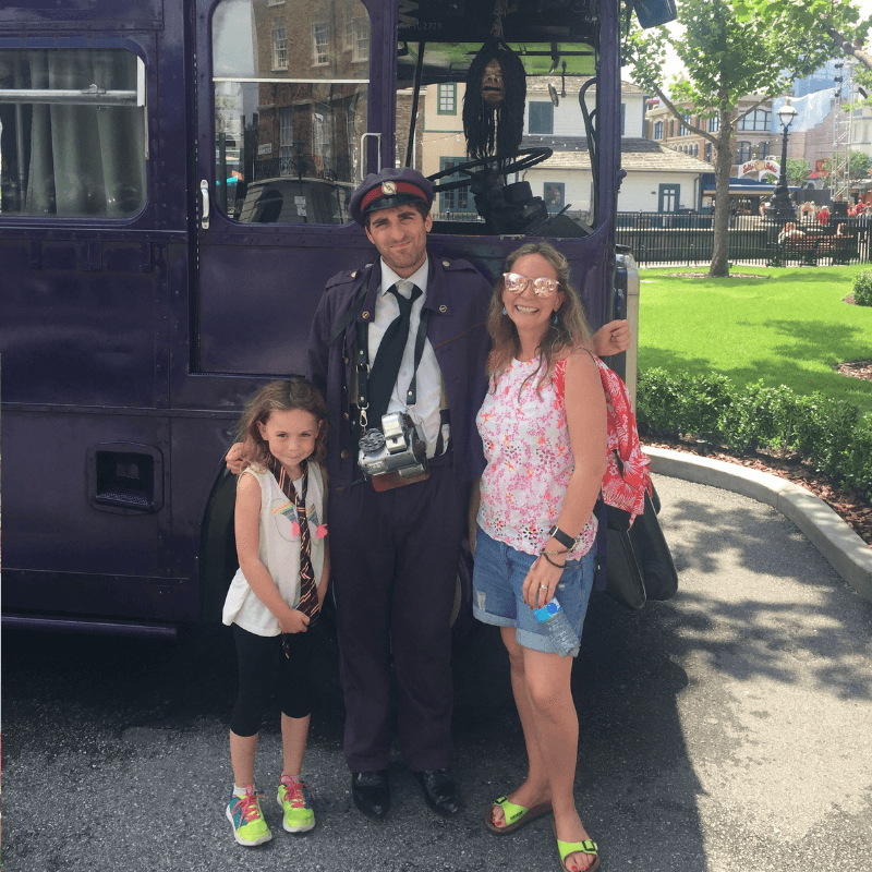 family at the nights at the wizarding world of harry potter, universal studios