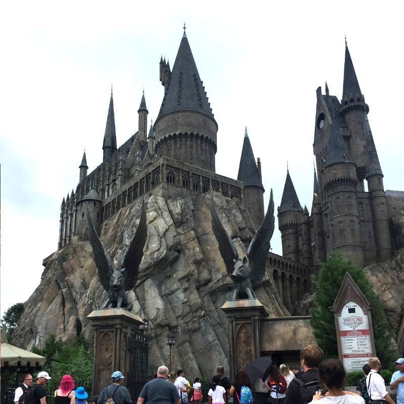 the towers of hogwarts at the wizarding world of Harry Potter at universal studios in Florida