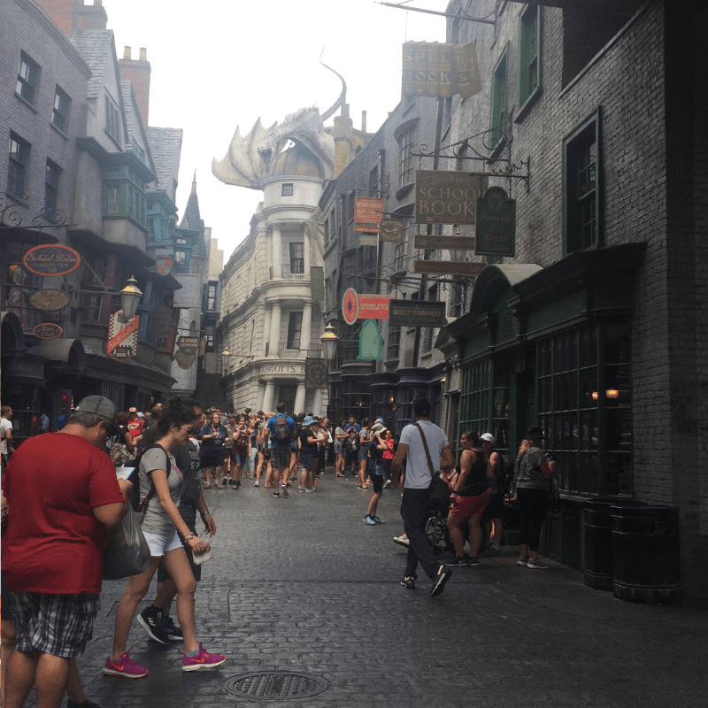 dragon alley at the wizarding world of harry potter, florida