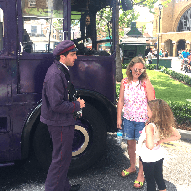chatting to characters at the harry potter world in universal, florida