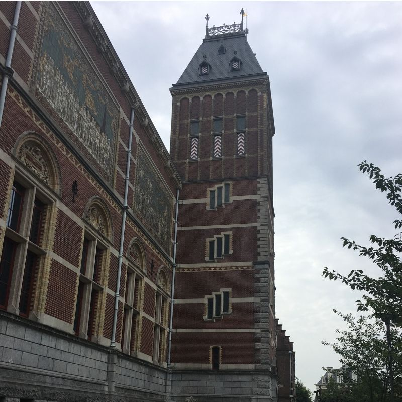 view of the side of the rijksmuseum in amsterdam