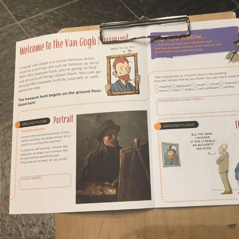 scavenger hunt paperwork at the van gogh museum