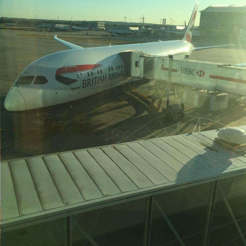 british airways airplane waiting to depart the gate