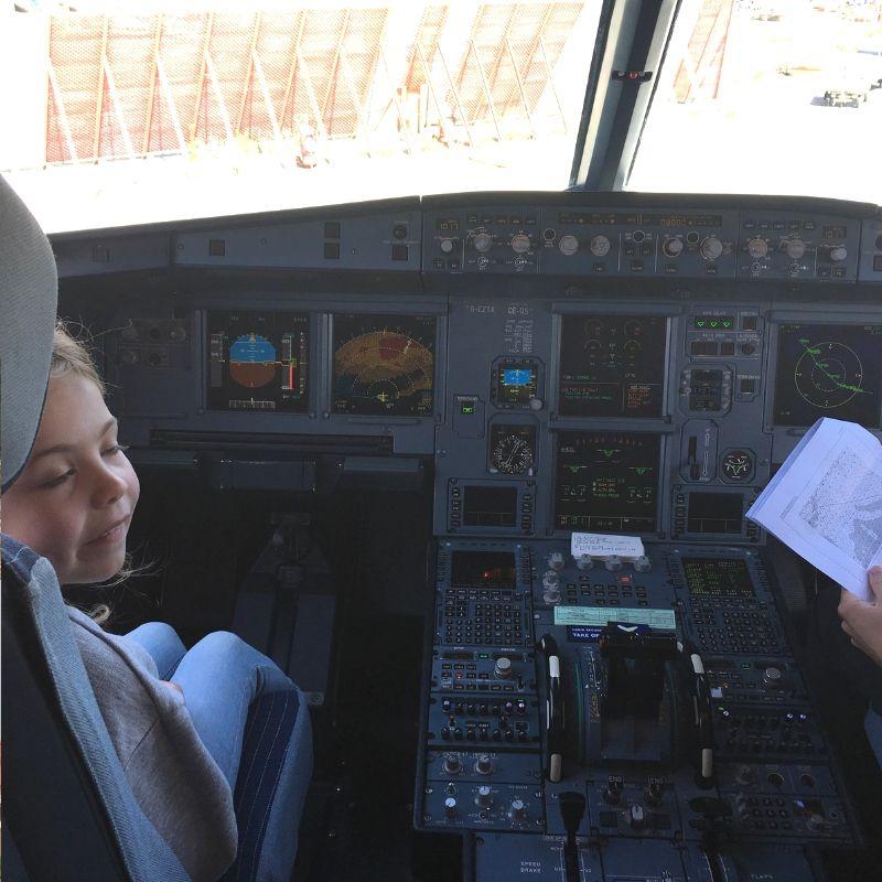 piper quinn inside cockpit on flight