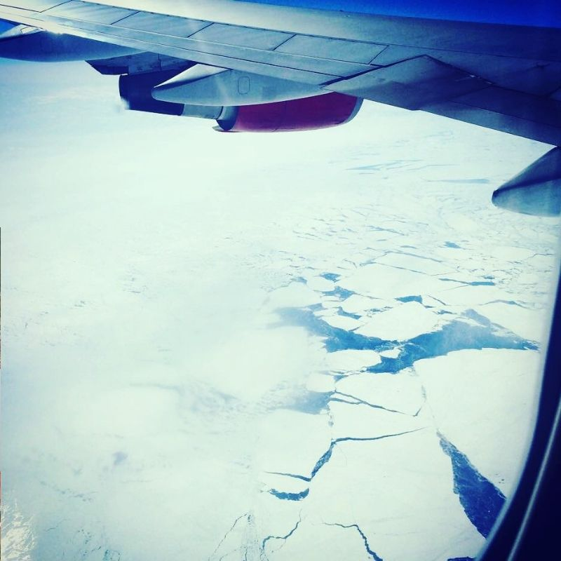 view on ice from the plane window