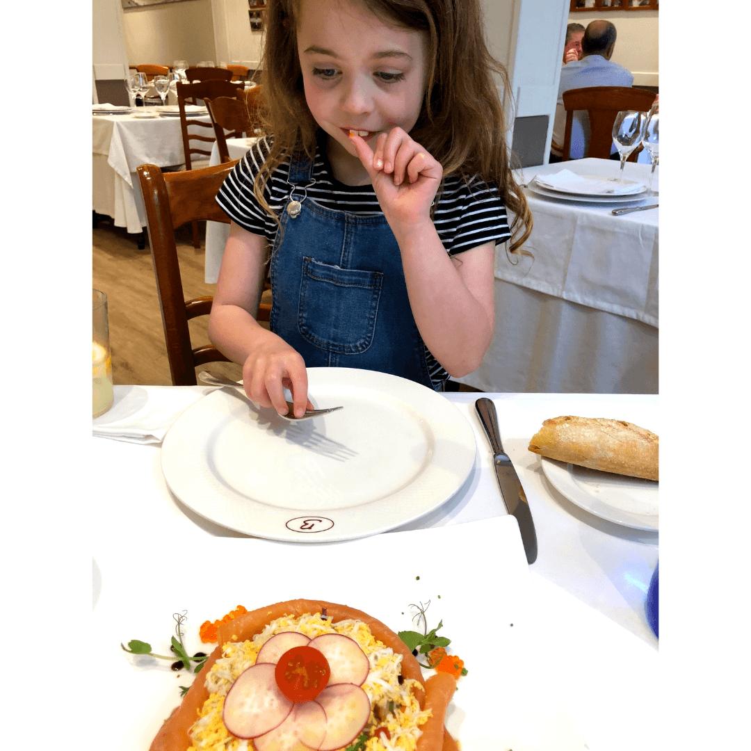 Piper quinn eating fish eggs at Bernado Etxea in donuts san sebastian