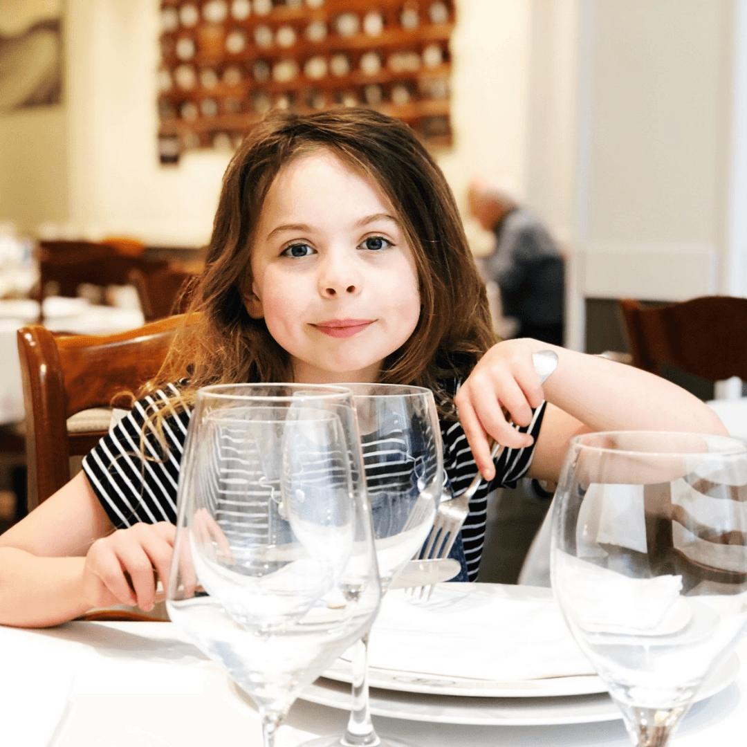 piper quinn enjoying dinner in bernardo etxea a seafood restaurant in the basque country