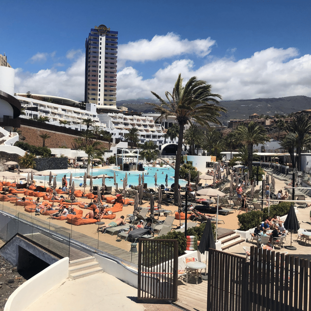 lively pool area at the hard rock hotel in Tenerife