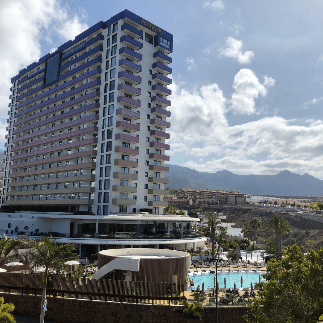 view of the high rise hard rock hotel in tenerife