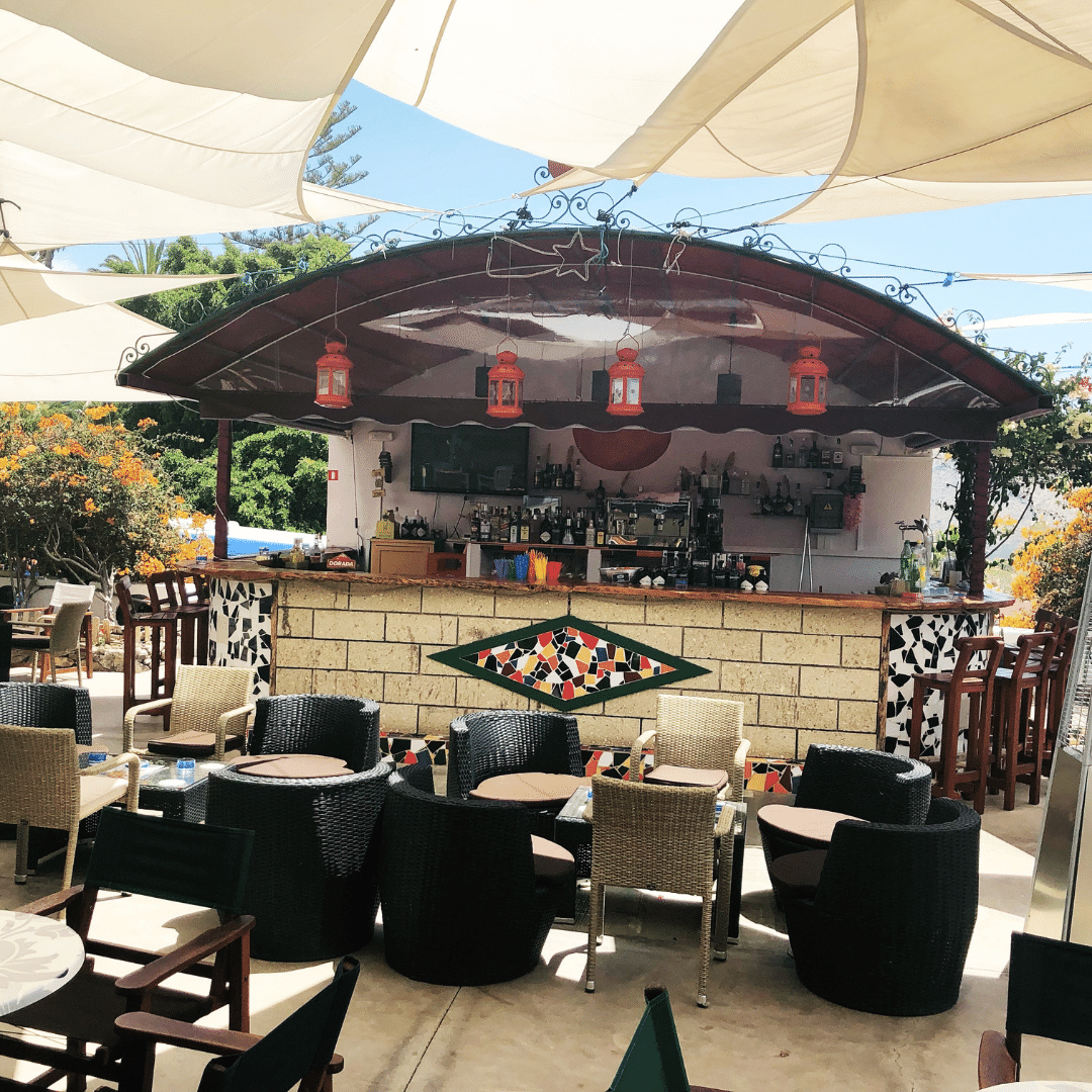 spanish style outdoor bar on the terrace at la finca restaurant in tenerife