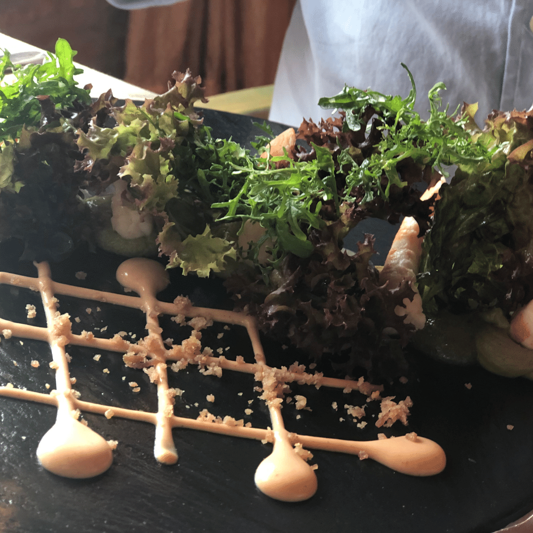 slate of food with artful sauce and lettuce from spanish restaurant