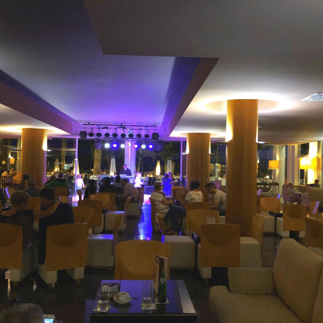the bar at the roca nivaria hotel at night