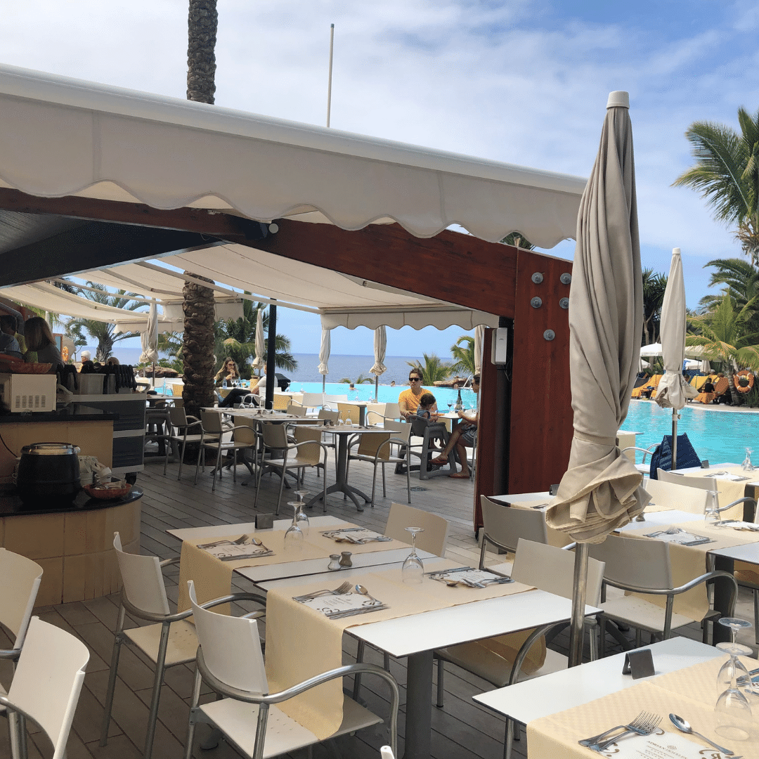 all inclusive lunch area by the pool at the roca nivaria