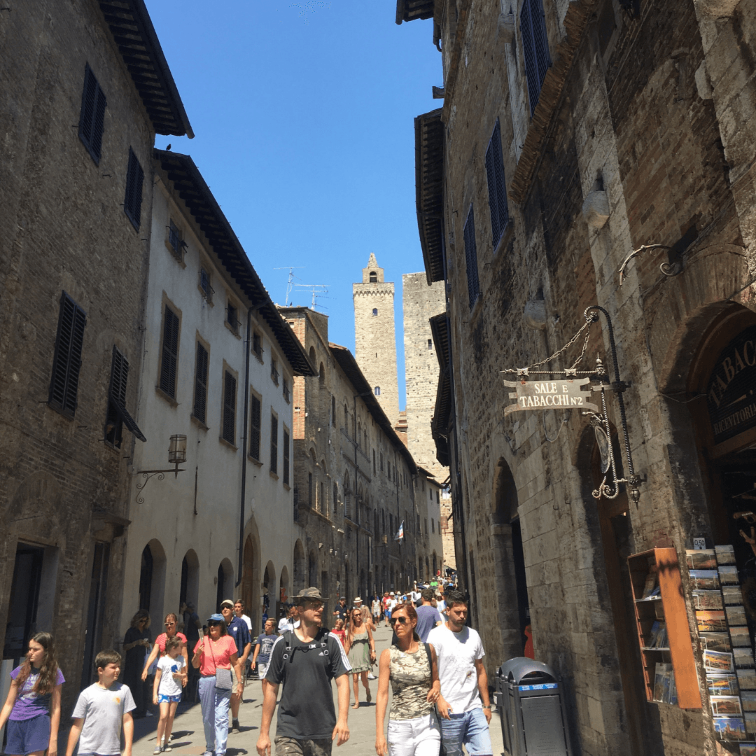 how to visit san gimignano with kids busy streets