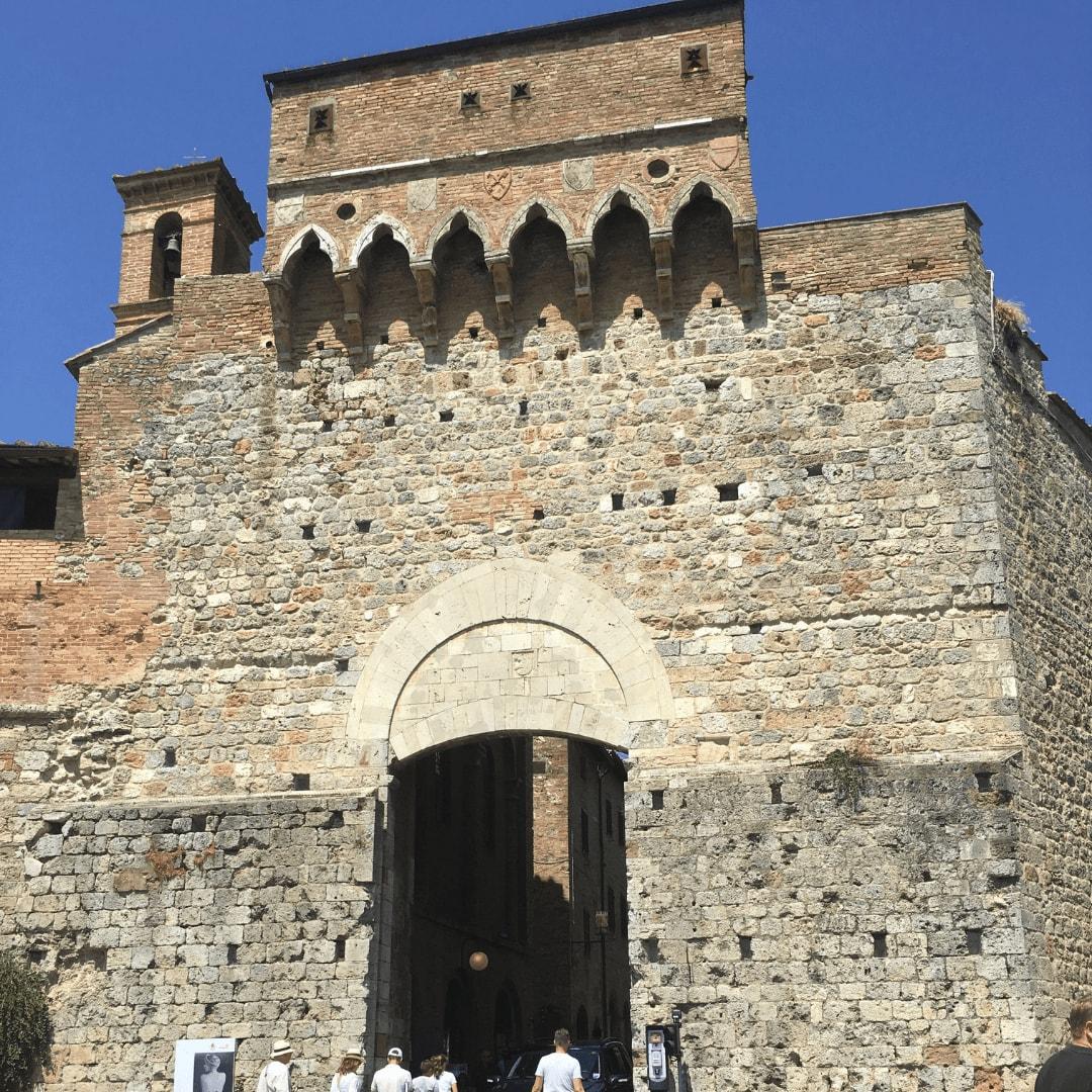 main gates in san gimignano, tuscany