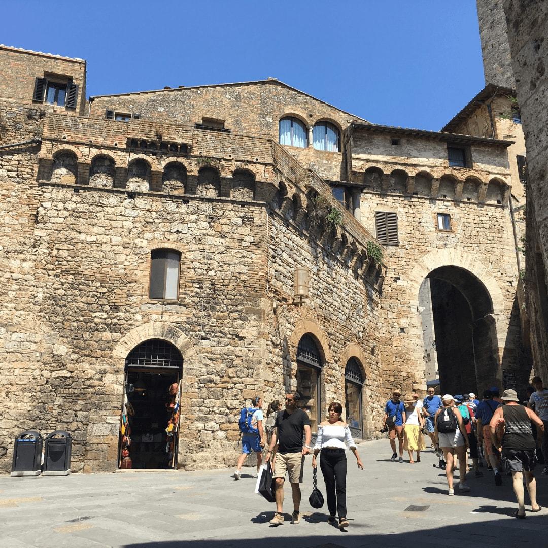 busy streets in san gimignano tuscany