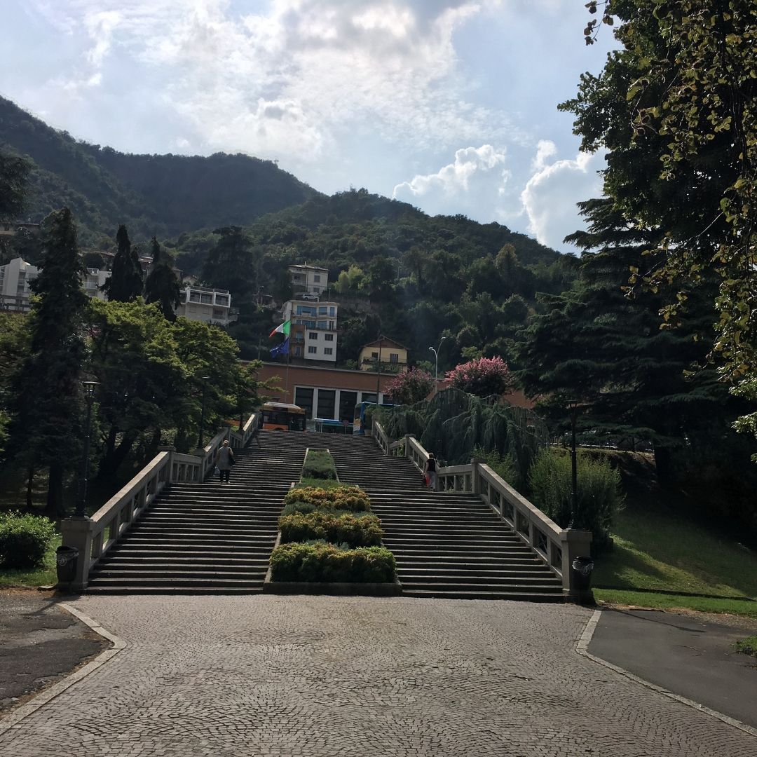 view up the stairs to Como train station