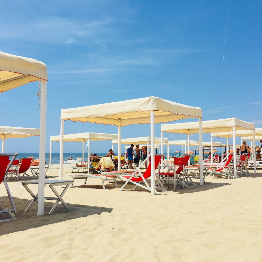 cabanas on the beach in viareggio, a great place to visit in tuscany with kids