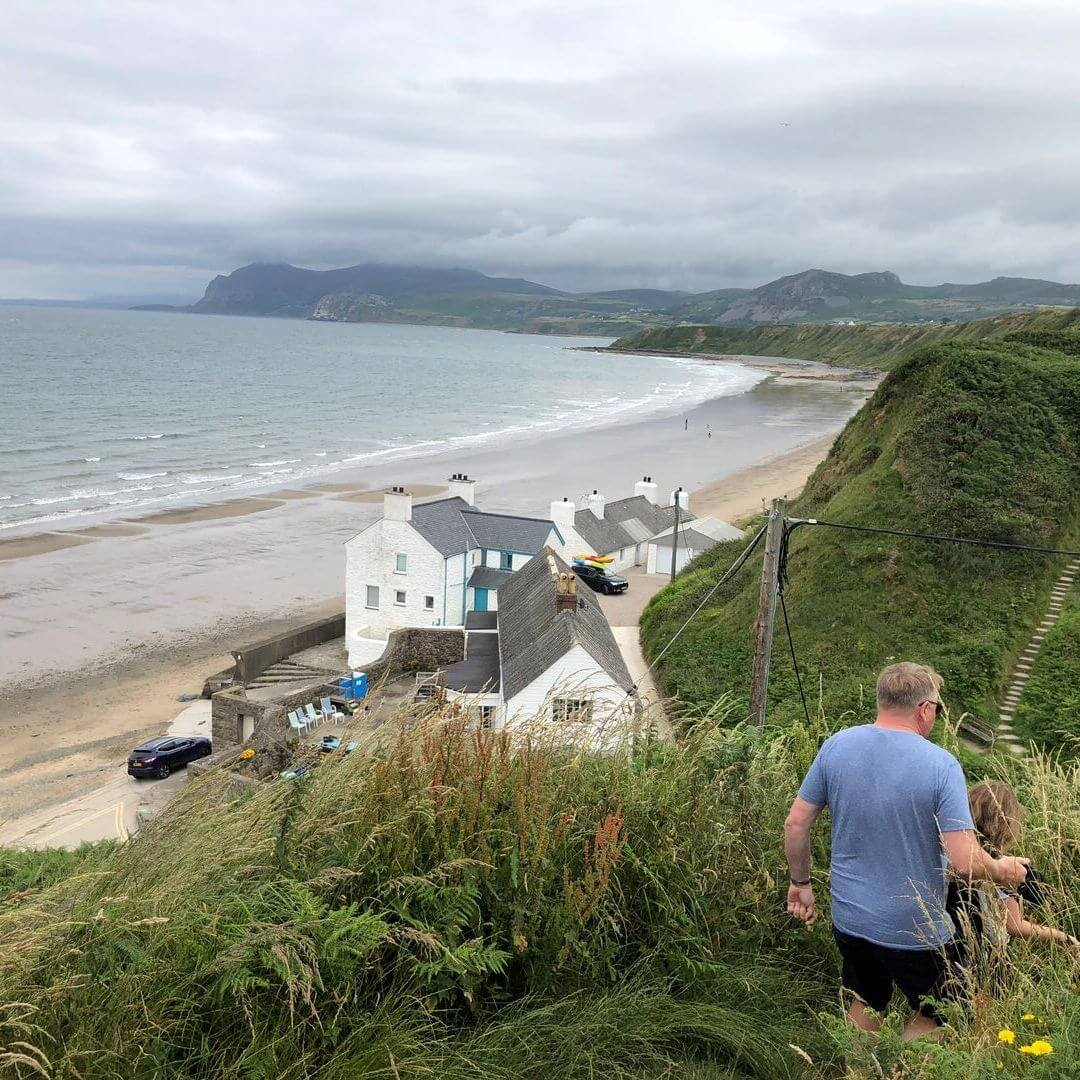 walking down the coastal part to get to the beach at nefyn