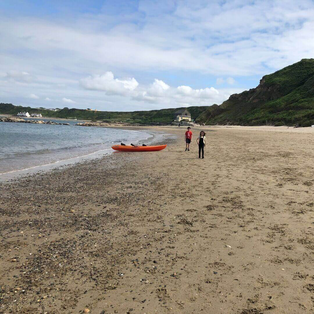 playing on the beach at nefyn