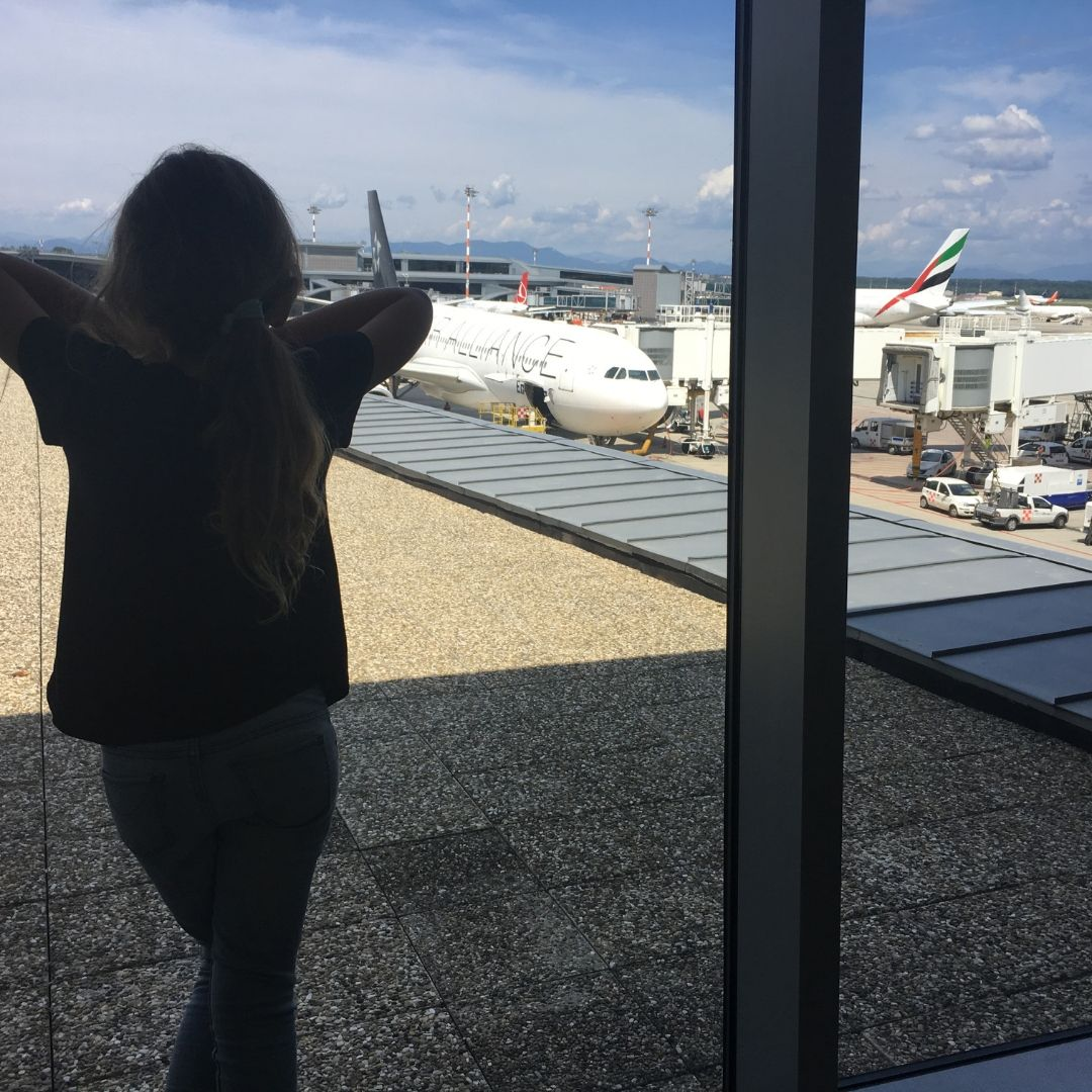watching the planes at Milan Malpensa Airport