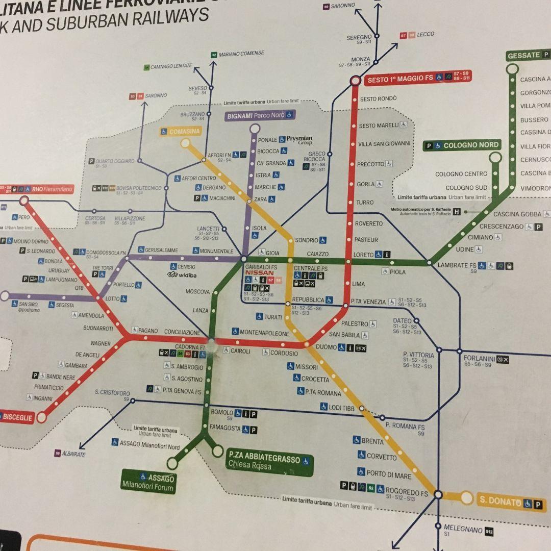 the Milan metro system map