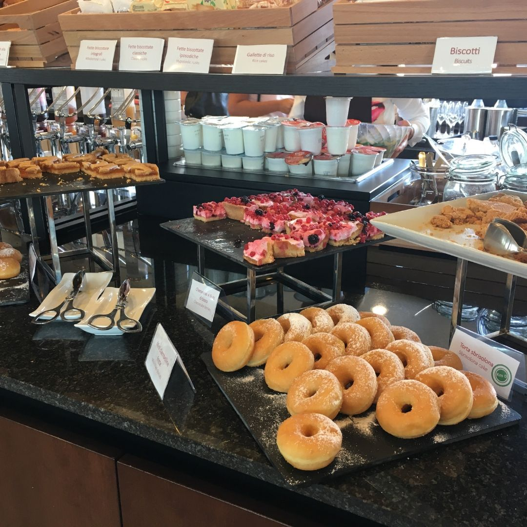 breakfast spread at the Hotel Galles best western in Milan