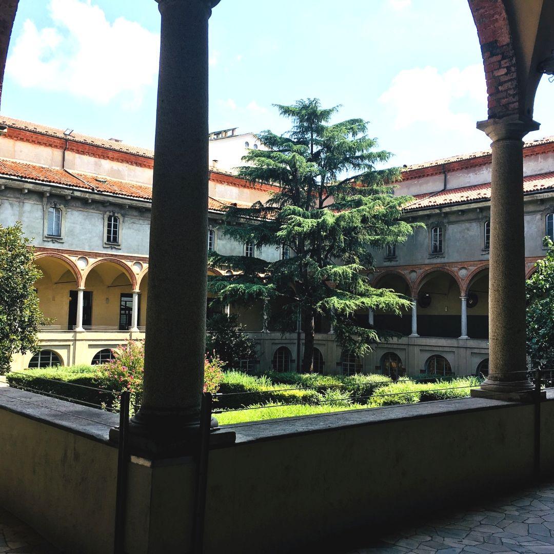 indoor atrium at the science museum in milan