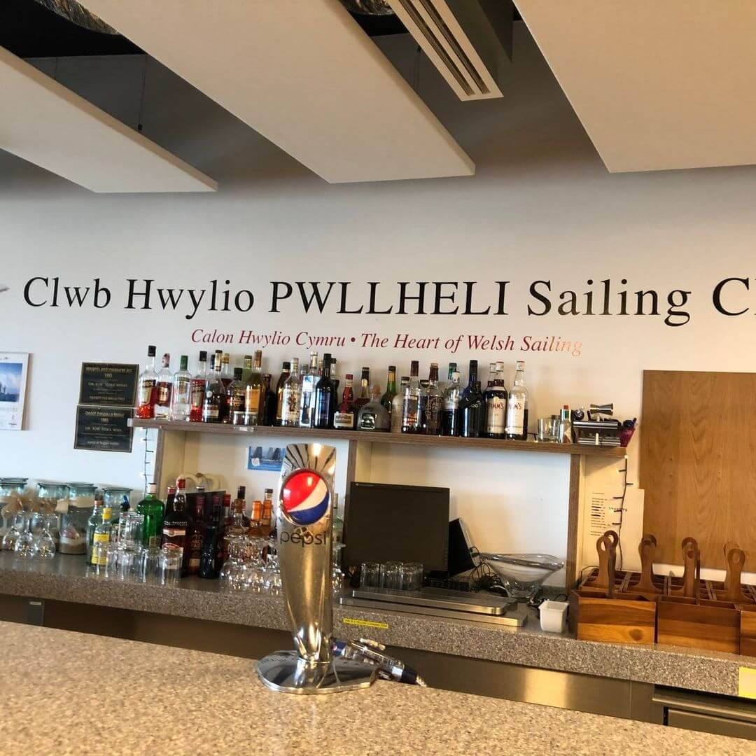 bar at the sailing centre in pwllheli