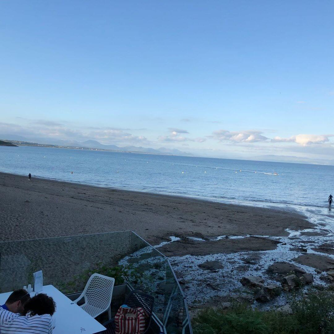 view from aqua beach bar in north wales