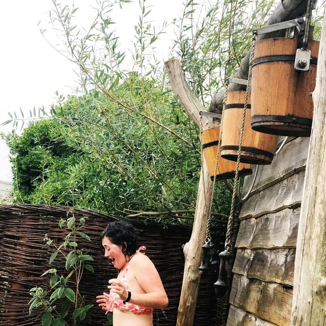 Ice Cold Bucket Shower At Outdoor Sensory Garden