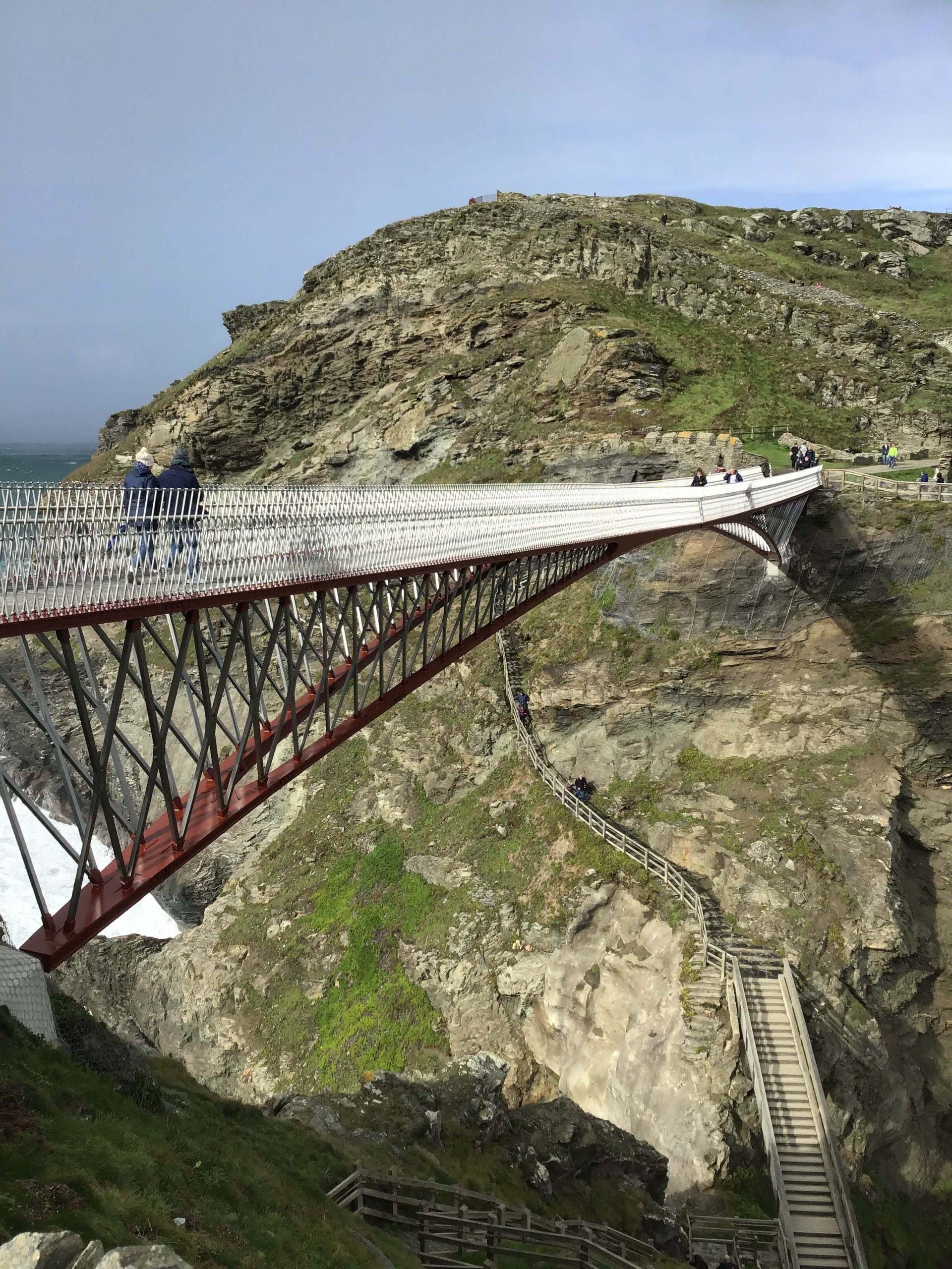 looking down at both bridges to Tintagel castle