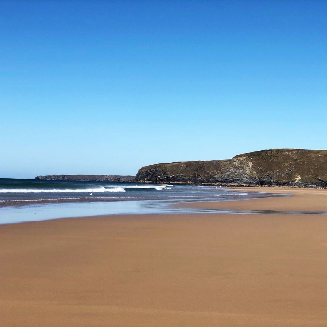 view of watergate bay beach in the sunshine