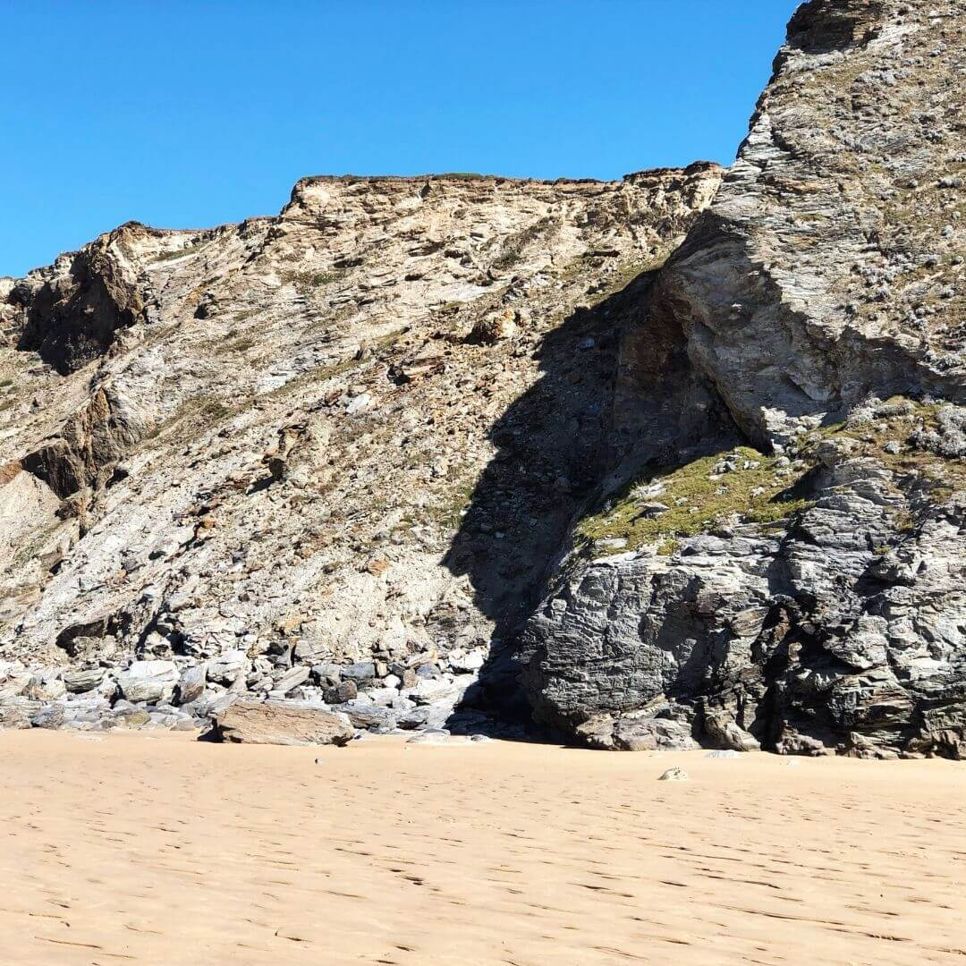 cliffs at watergate bay beach in north cornwall