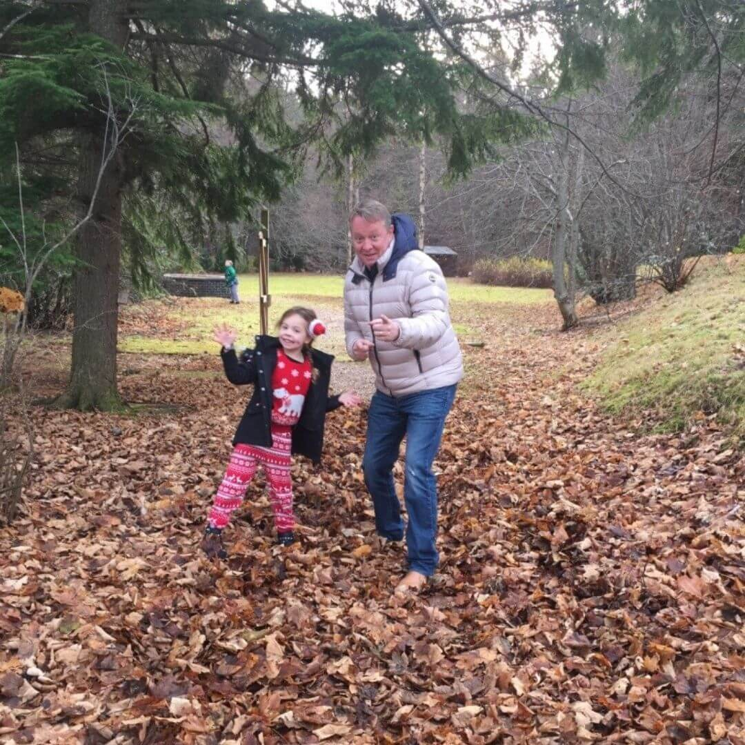Throwing Leaves At The Mac Donald Hotel In Aviemore
