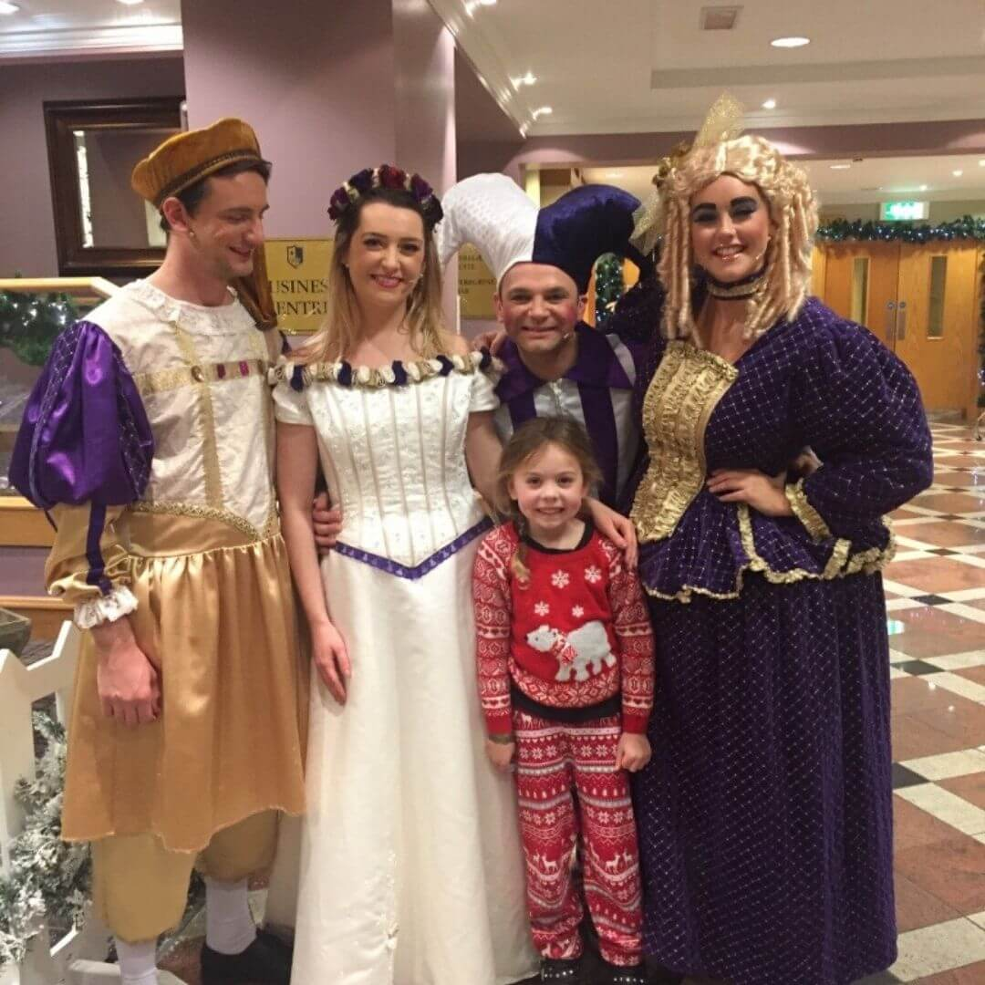 Piper Quinn With The Pantomime Performers At He Aviemore Santa Weekend