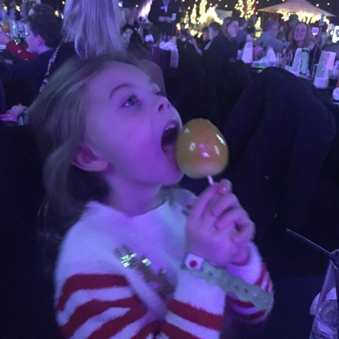 young girl eating the pudding choices at the aviemore hotel for a santa weekend break