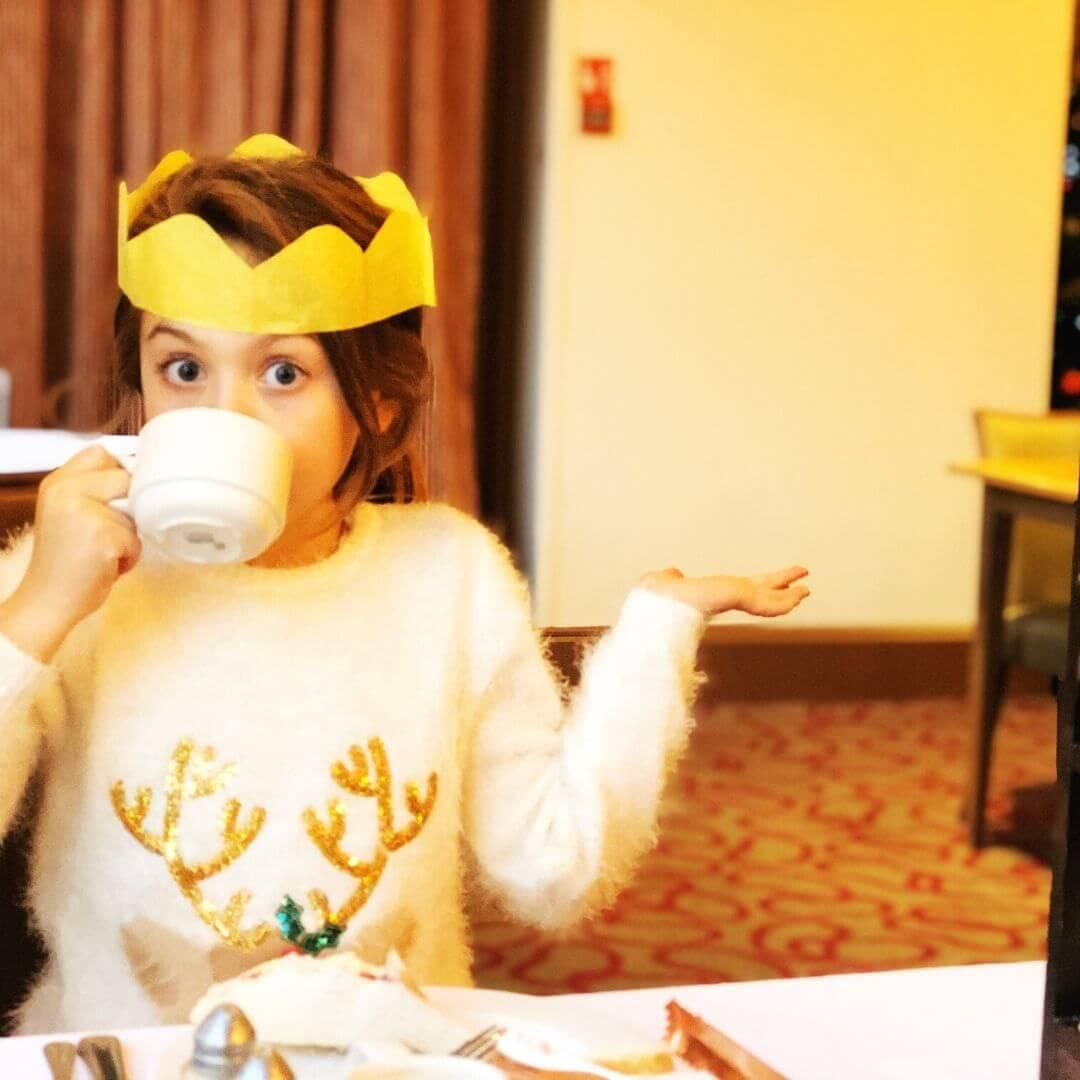 piper quinn drinking a cup of tea