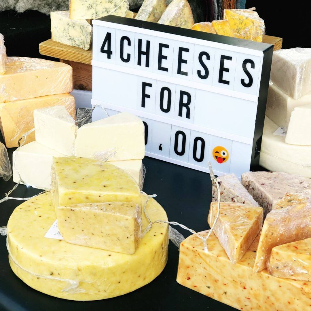 cheese stall at the world of wedgwood artisan market
