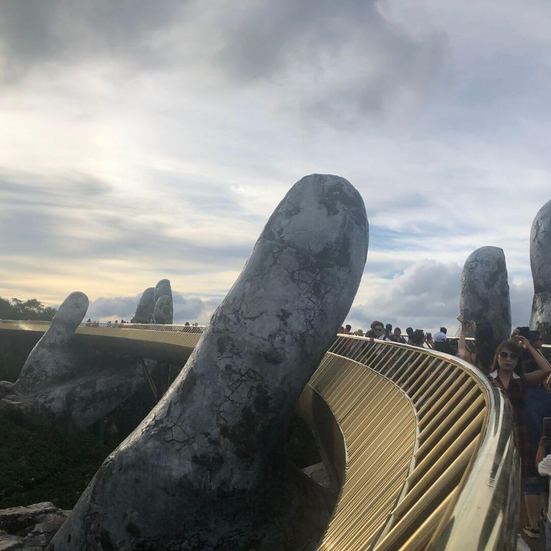 Golden Bridge In Danang, Vietnam As The Sun Goes Down