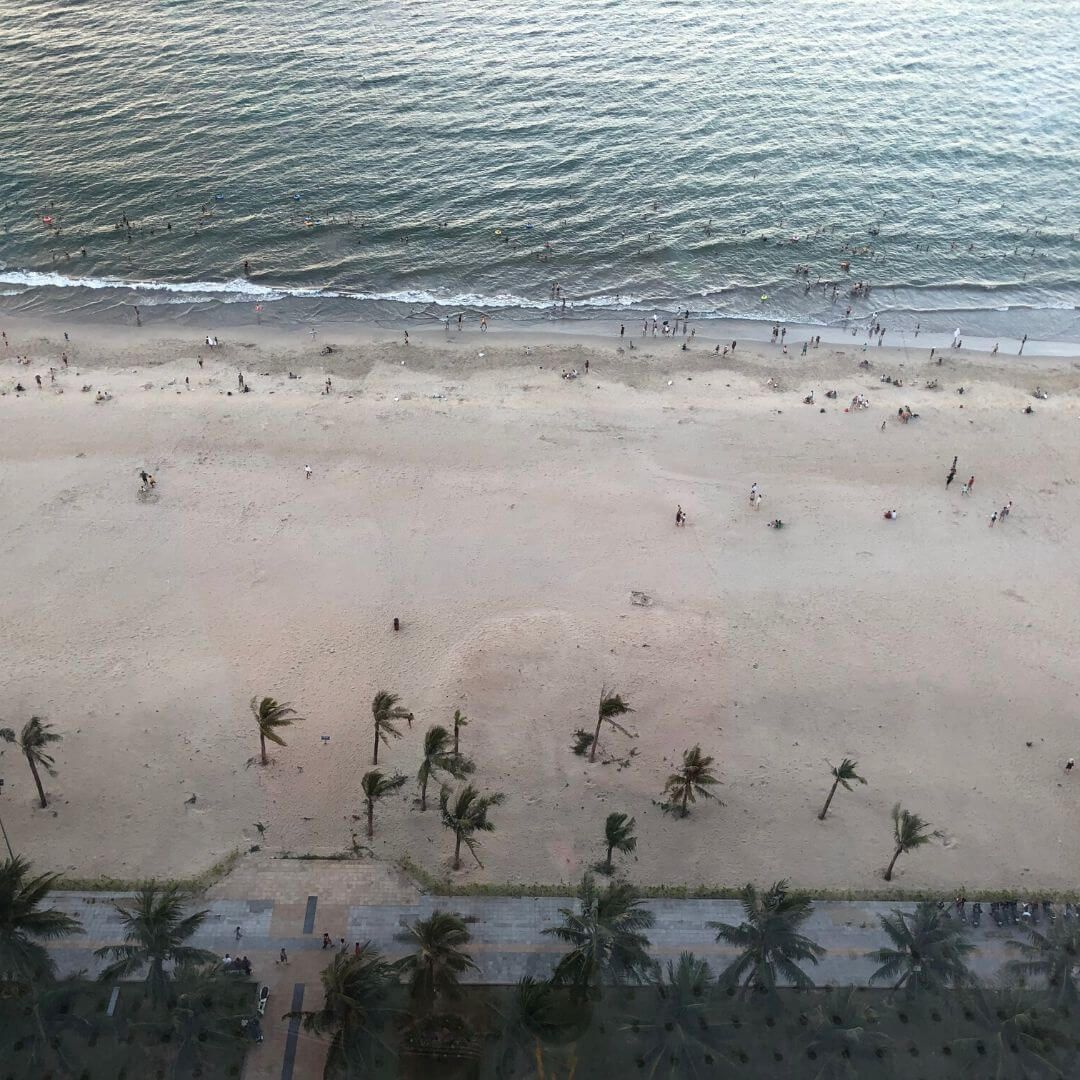 my Khe beach from above with palm trees, water and people playing in the waves