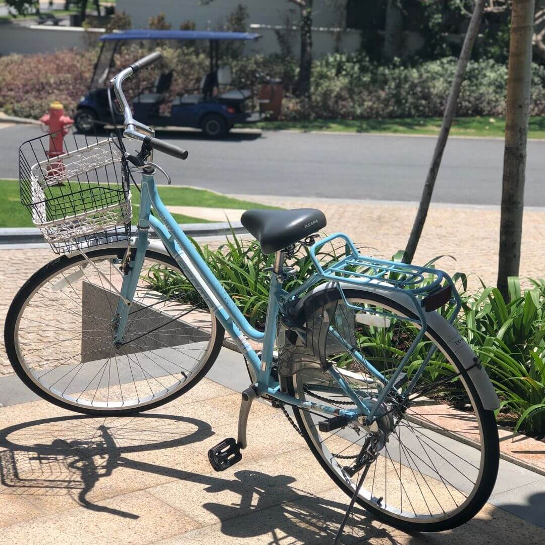 blue bike which you can rent from the ocean villas resort